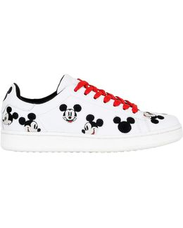 Mickey Embroidered Leather Sneakers