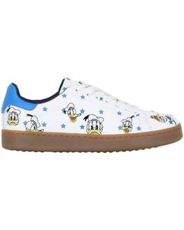 Donald Duck Embroidered Leather Sneakers