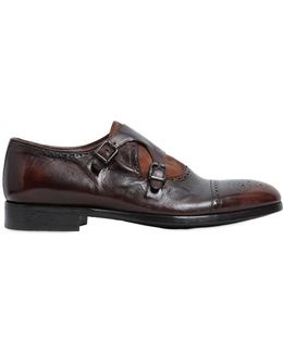 Monk Strap Washed Leather Shoes
