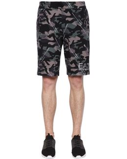 Camouflage Printed Cotton Shorts
