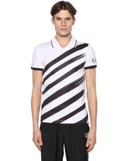 Printed Logo Nylon Tennis T-shirt