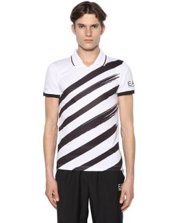 Printed Logo Nylon Tennis T-shirt