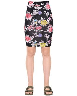 Rose Printed Viscose Jersey Pencil Skirt