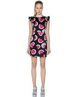 Watermelon Printed Cotton Satin Dress