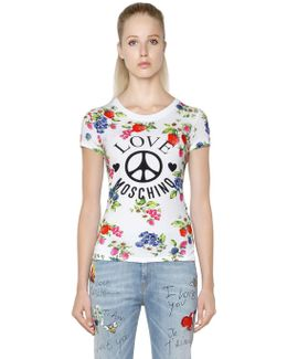 Floral Printed Cotton Jersey T-shirt