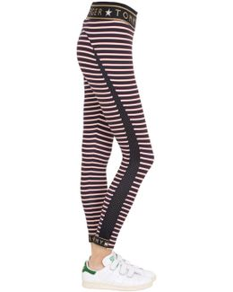 Striped Logo Microfiber Leggings