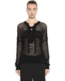 Boxy Open Knit Sweater W/ Lace Up Detail