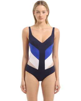 Paneled Lycra Swimsuit W/ Sheer Inserts