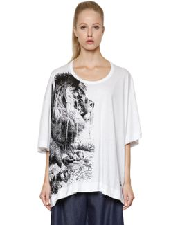 Lion Printed Cotton Jersey T-shirt