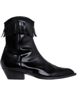 40mm Brushed Leather Fringe Boots