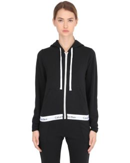 Logo Trim Zip-up Cotton Sweatshirt