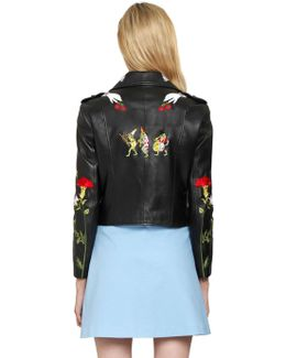 Embroidered Grained Leather Biker Jacket