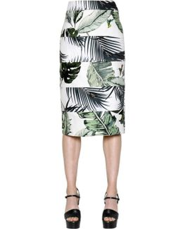Tropical Natté & Twill Pencil Skirt