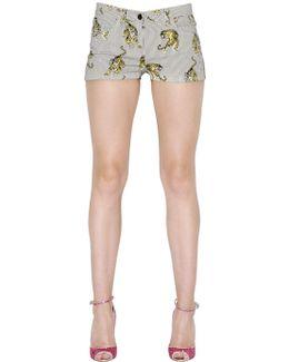 Tigers Printed Cotton Denim Shorts