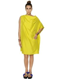 Asymmetric Draped Light Shantung Dress