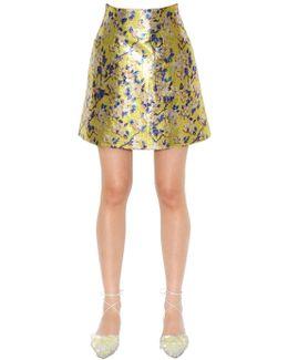 Floral Printed Lurex Mini Skirt