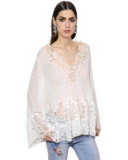 Silk Georgette Top W/ Lace Details