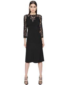 Long Sleeved Cady Stretch & Lace Dress