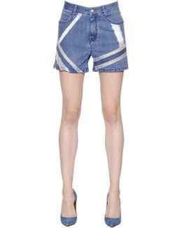 Lace Intarsia Cotton Denim Shorts