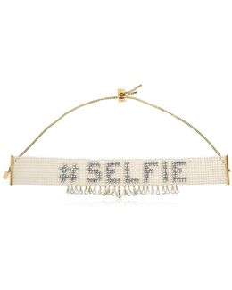Selfie Beaded Choker Necklace W/ Crystal