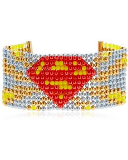 Supergirl Beaded Cuff Bracelet