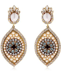 Eye Crystal & Pearl Earrings
