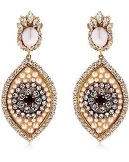 Eye Crystal & Pearl Earrings
