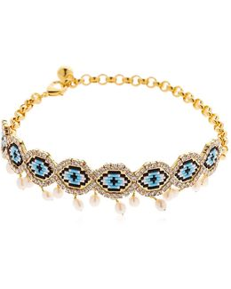 Eye Beaded Choker W/ Pearls