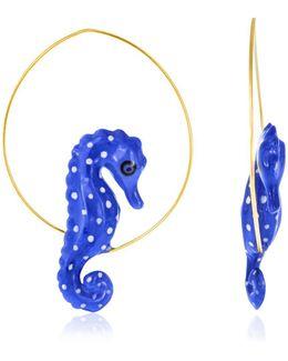 Blue Seahorse Hoop Earrings