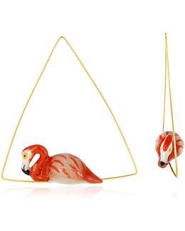 Flamingo Triangle Hoop Earrings