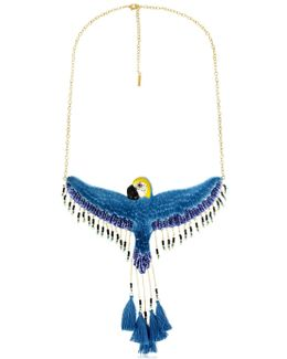 Flying Blue Parrot Necklace