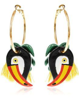 Toucan & Palm Leaves Hoop Earrings