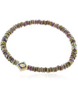 Gold & Blue Enamel Scarab Bracelet