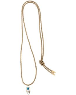 Gold Enameled Hamsa Necklace