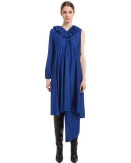 One Sleeve Ruffled Crepe Jersey Dress