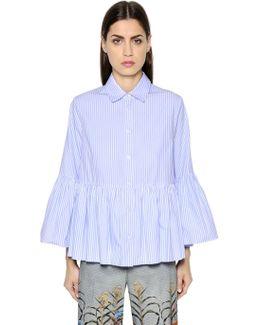 Striped Ruffled Cotton Poplin Shirt