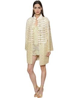 Astrakhan Effect Embroideries Tulle Coat