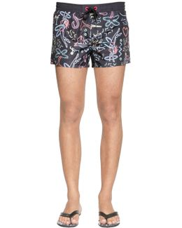 Neon Printed Nylon Swim Shorts