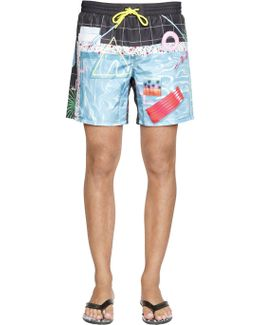 Pool Printed Nylon Swim Shorts