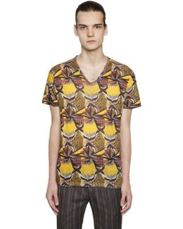 Psychedelic Linen Jersey V-neck T-shirt