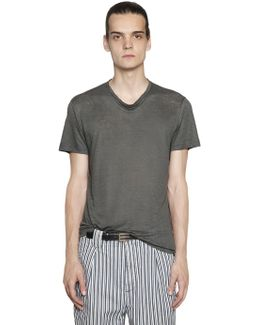 Draped Collar Linen Jersey T-shirt