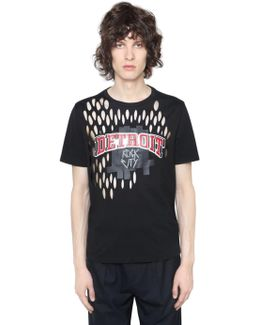 Printed Cotton Jersey T-shirt W/ Cutouts