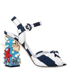 105mm Keira Sea Embellished Cady Sandals