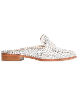 20mm Woven Faux Metallic Leather Mules
