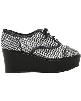 80mm Wooven Faux Leather Lace Up Wedges