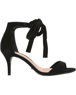 80mm Clarita Bow Suede Sandals