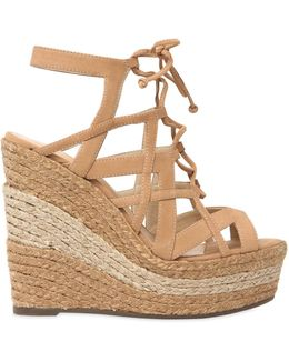 130mm Suede Two Tone Rope Lace-up Sandal