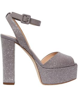 120mm Glittered Leather Sandals