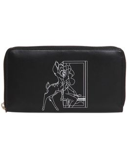 Bambi Printed Leather Zip Around Wallet
