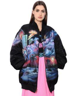 Oversized Printed Nylon Bomber Jacket